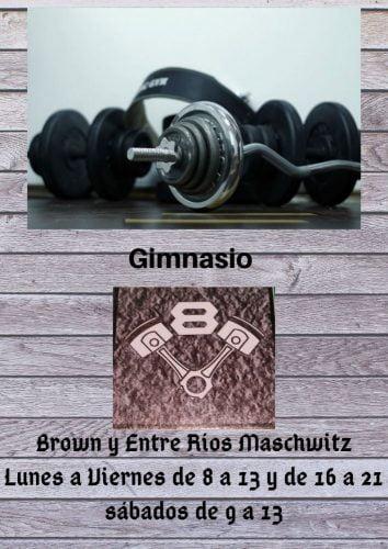 Gimnasio Brown y Entre Ríos Maschwitz Lunes a Viernes de 8 a 13 y de 16 a 21 sábados de 9 a 13